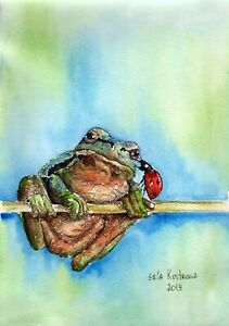 A-Secret-original-watercolor-animal-painting-frog-ladybird-flower-amphibian-art