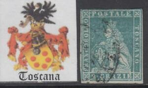 ITALY-TOSCANA-1851-2-crazie-n-5f-azure-green-on-gray-paper-cv-400