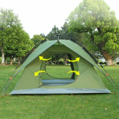Camping Dôme Tente 3-4 Personne Automatique Double Couche Voyage Randonnée Shelter Canopy