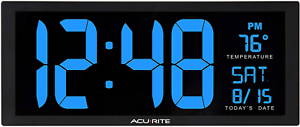 AcuRite 75152M Oversized Blue LED Clock with Indoor Temperature, Date and Stand,