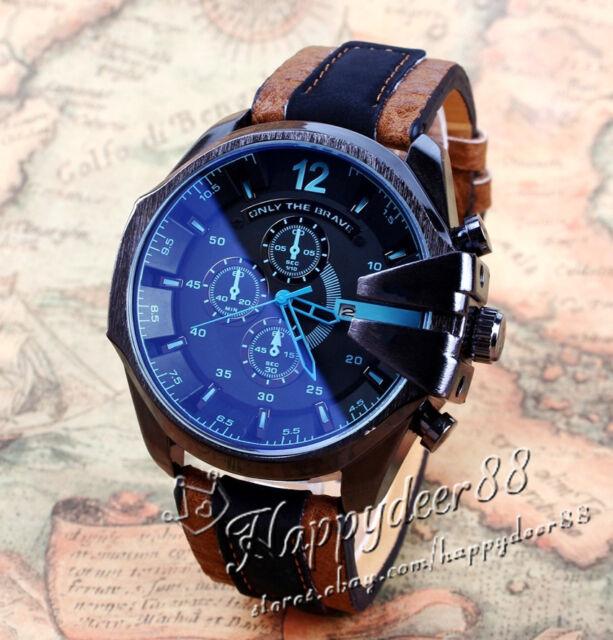 Luxury Men's Watch Analog Sport Steel Case Quartz Dial Leather Wrist Watch Gift