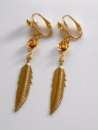GOLD-PLATED CLIP ON EARRINGS PRETTY ROSE /& FEATHER LEAF DANGLES or hooks