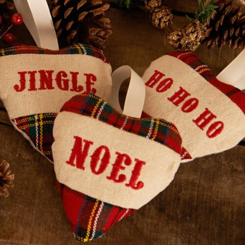 Job Lot 24 x Brand New Tartan Hearts Christmas decs Packed in 3/'s all with tags