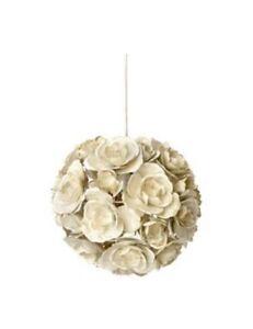 Details About Rose Cer Light Pendant Lamp Shades Gold Cream Homebase Set Of 2