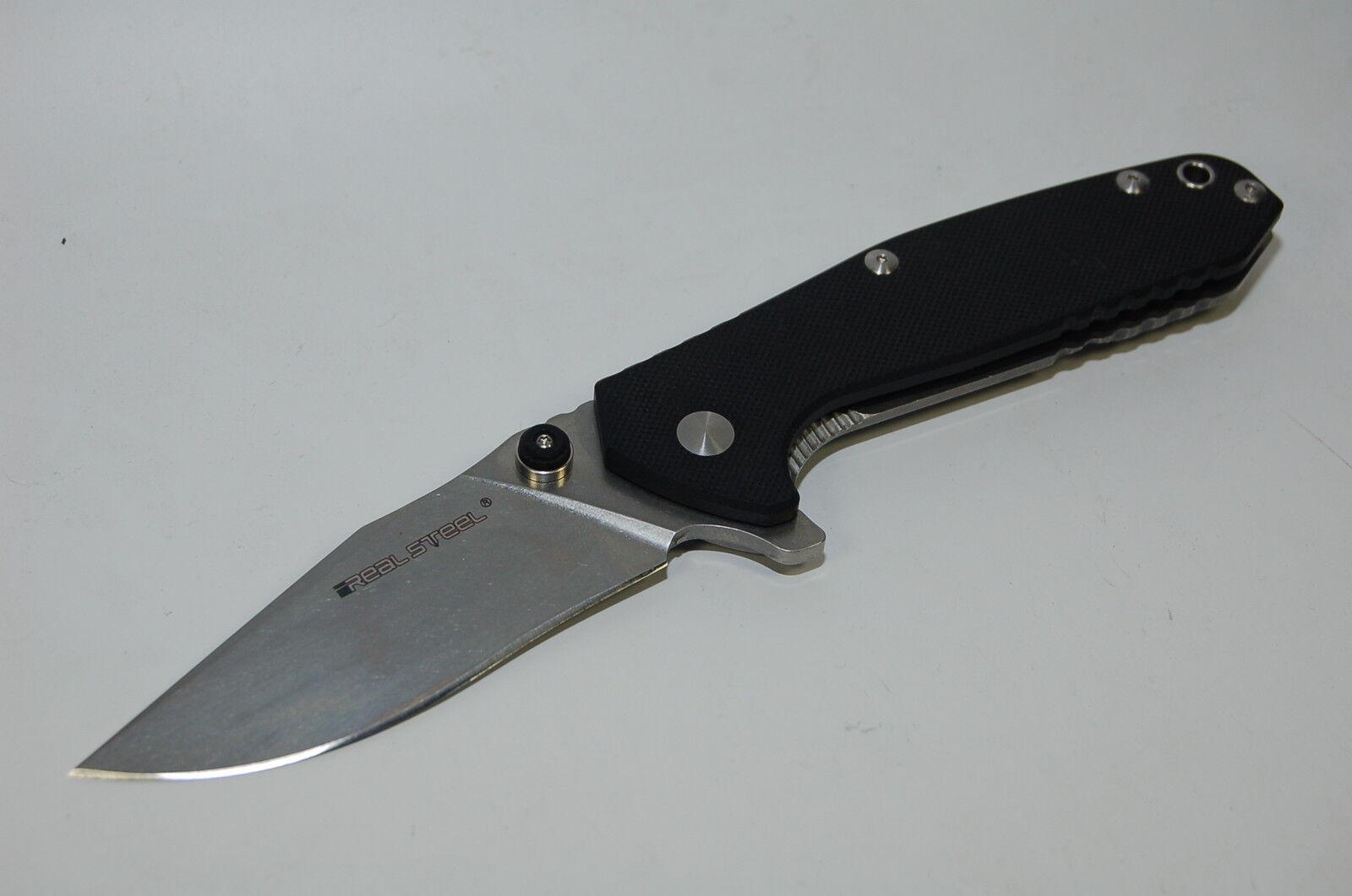 Real Steel h5 negro g10 navaja einhandmesser