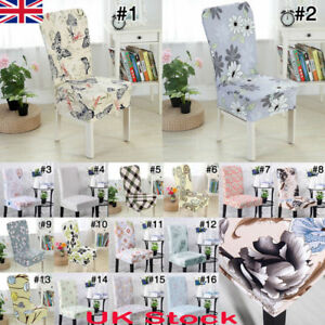 uk removable elastic stretch slipcovers short chair cover dining rh ebay co uk