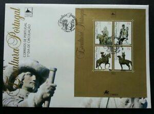 SJ-Portugal-Sculpture-1995-Art-Horse-Riders-Cowboy-Culture-miniature-FDC