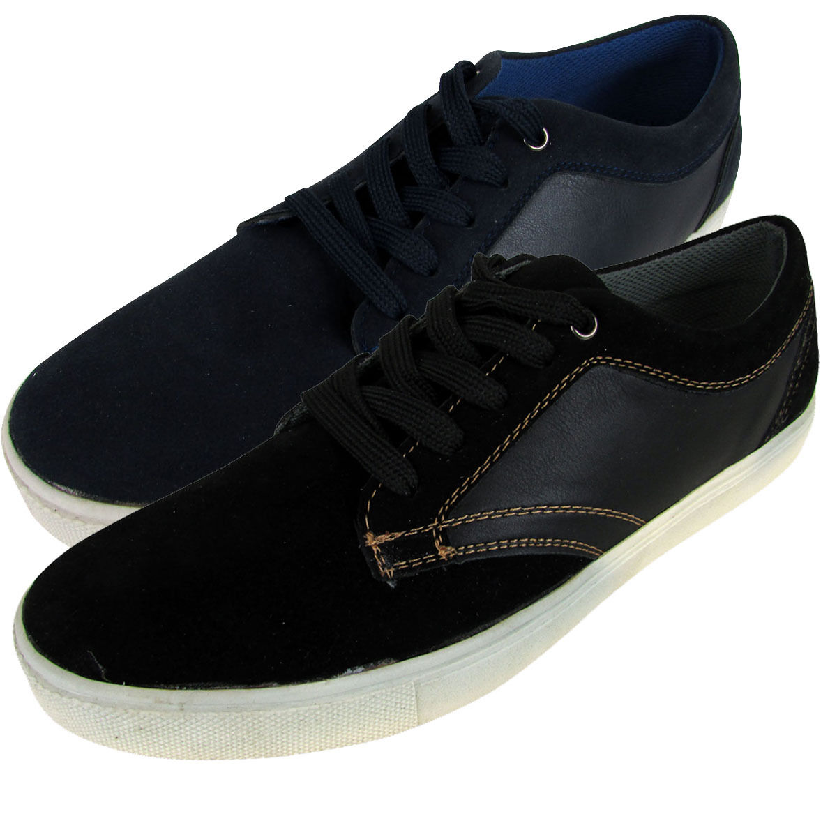 Mens Casual Flat Lace Up Faux Leather Skate Pumps Plimsolls Trainers Shoes 7-12 Comfortable and good-looking