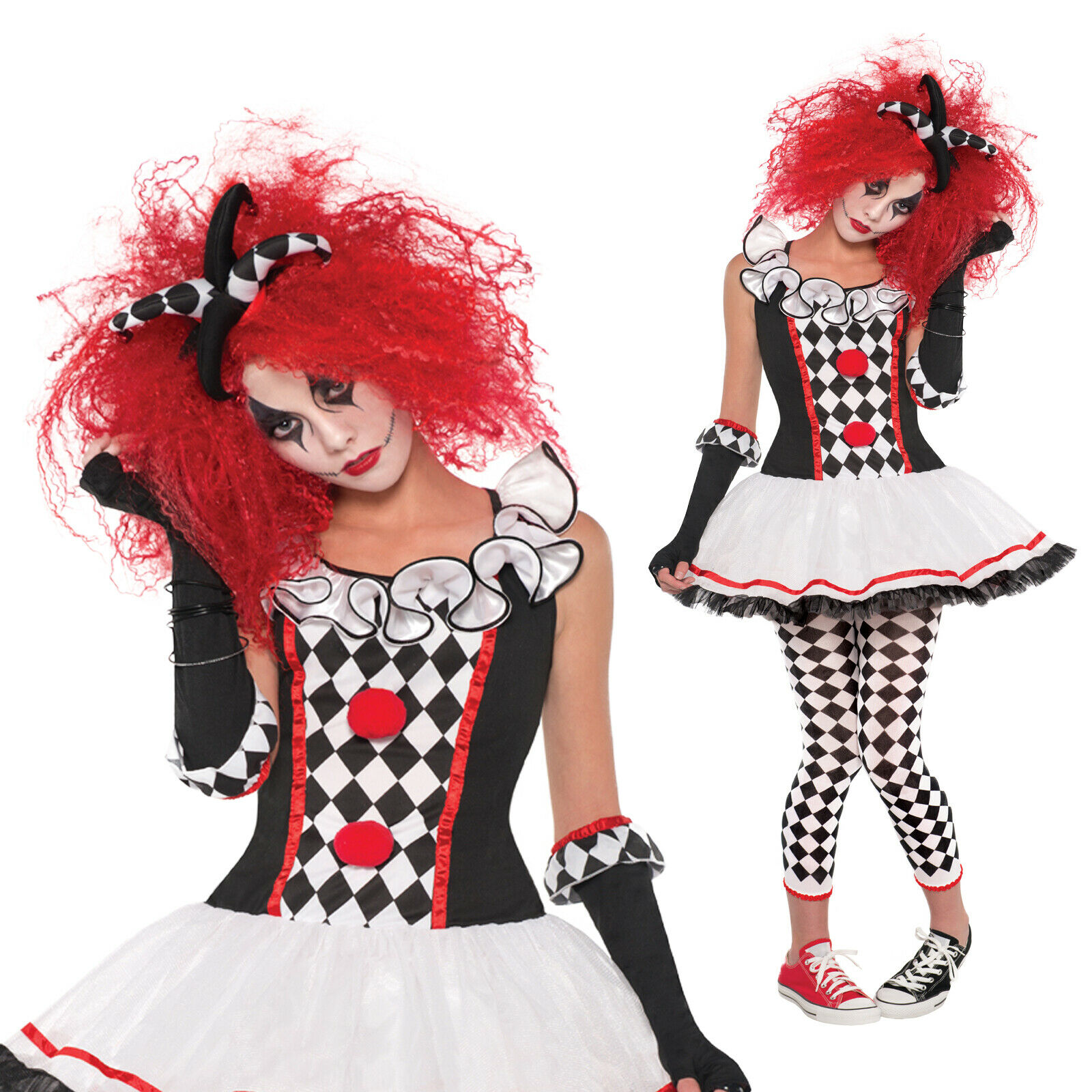 Amscan Womens Harlequin Honey Jester Halloween Fancy Dress Costume Outfit