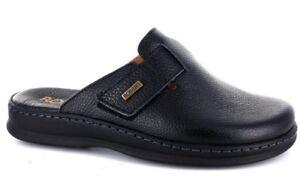 reputable site 1e121 6fe48 Dettagli su ROBERT 85107 nero ciabatte pantofole uomo strappo comfort  casual pelle