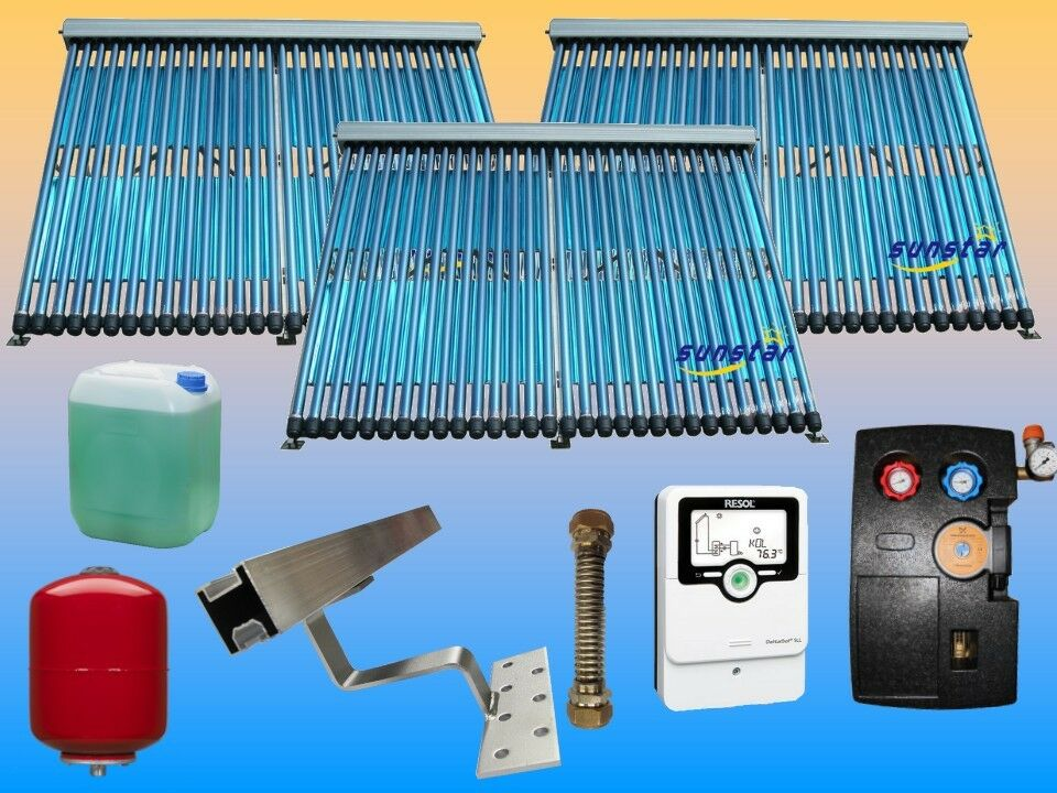 Solarthermie Warmwasser Komplettpaket | Röhrenkollektor Solaranlage | Solar BAFA