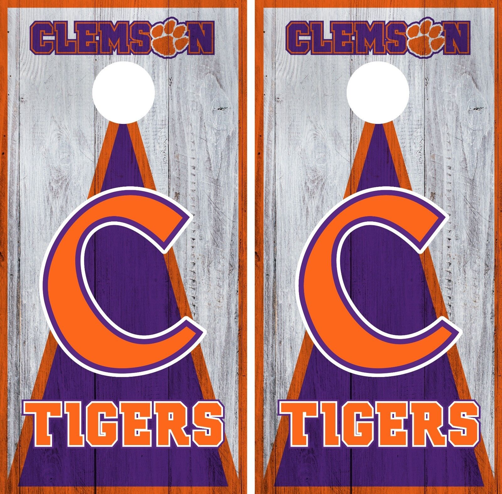 Clemson Tigers Cornhole Wrap NCAA Game Board Skin Vinyl Decal Art Set CO758