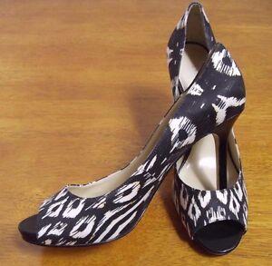 Enzo-Angiolini-Womens-9-5-M-Patterned-Peep-Toe-Platform-Stilettos-Pumps-Shoes