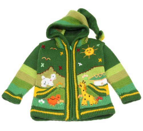 Kinder Strickjacke grün Kapuze Peru Bauernhof Tiere Sonne Berge Inka Anden Inka