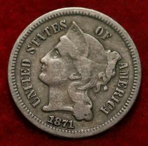 1871 Philadelphia Mint Nickel Three Cent Coin