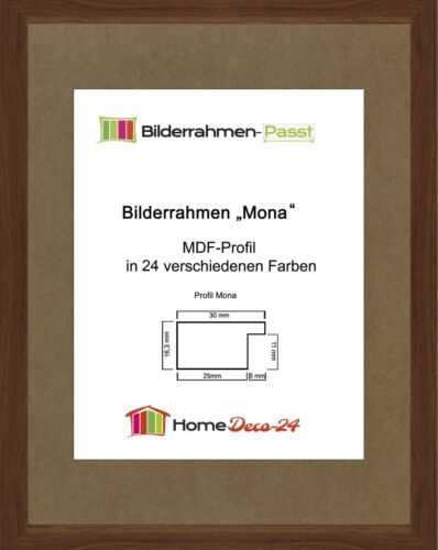 Mona 44 x 56 cm Bilderrahmen Homedeco 24 Holzwerkstoff Wahl Farbe Verglasung
