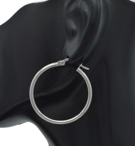 1 1//4/'/' 30mm x2MM 1.4GR 14k Solid  White Gold Large Plain Round hoop Earrings