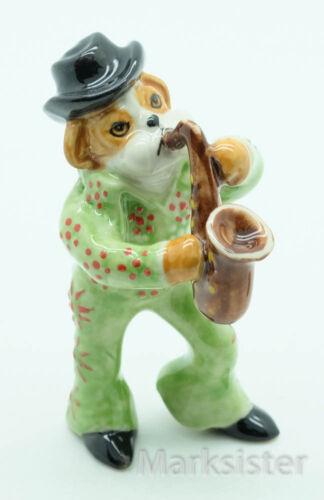 SMC028G-2 Bulldog Dog Saxophone Green Elvis Presley Ceramic Animal Figurine