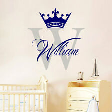 Wall Stickers custom name crown boy large frame vinyl decal decor Nursery kids