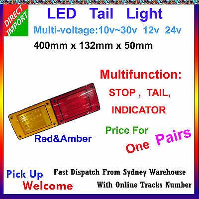 Pair 400 x 132 MM JUMBO LED TAIL LIGHT TRUCK 10V-30V STOP TAIL INDICATOR