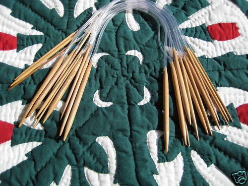 "16/"" 12 sz Bamboo Circular Knitting Needles us 0-10.5"