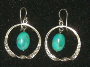 Silpada-Turquoise-Dangle-Drop-Hoop-Earrings-925-Sterling-Silver-Hammered-Twisted