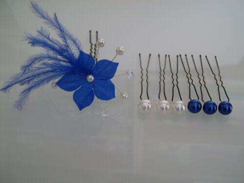 Pics//bijou//épingle Cheveux Mariée//Mariage Bleu roi//Blanc//Cristal fleur plume