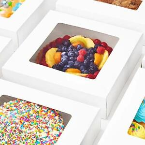 Bright White Disposable 10x10 Bakery Boxes with Window for Cake, Pie & Pastry