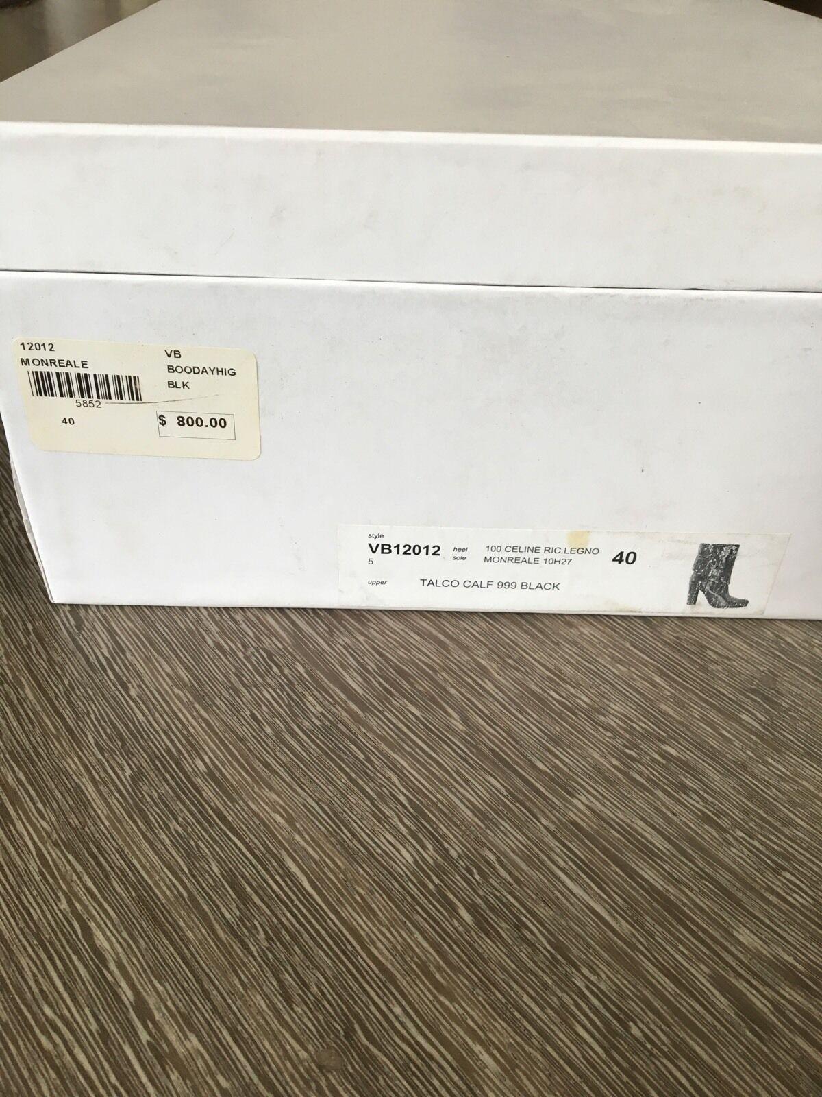 Veronique Branquinho Black Leather Slip On Heeled Boots Size 40 (US 10)