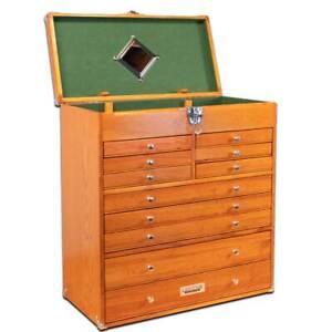 Gerstner-International-GI-T22-11-Drawer-Oak-Veneer-Large-Hobby-Tool-Chest-NEW