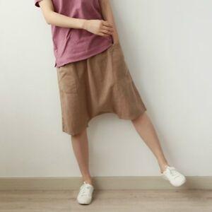 Unisex-Linen-Harem-Shorts-Loose-Trousers-Casual-Drop-Crotch-Pants-Comfort-Solid
