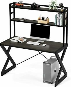 47 In Computer Desk with Hutch, Industrial Desk with Shelves, Metal Frame