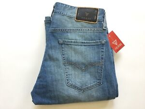 Guess-Men-039-s-Regular-Boot-Cut-Jeans-In-Light-Blue-With-Destroy-Details-Size-32
