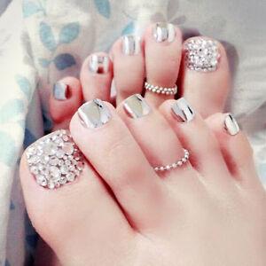 24-x-New-3D-Metallic-Shimmer-Diamond-Silver-Short-Fake-False-Toe-Nails-Glue-T147