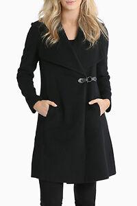 NEW-Jane-Lamerton-Buckle-Detail-Wrap-Coat-Black