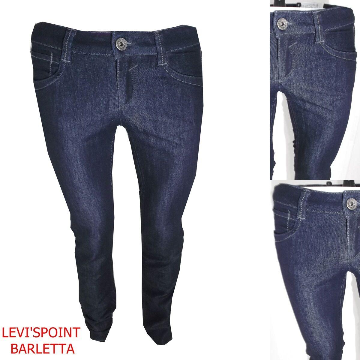 Jeans gas da donna con strass elasticizzati a gamba dritta vita bassa W28 42 blu