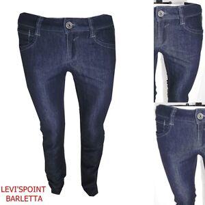 jeans-gas-da-donna-con-strass-elasticizzati-a-gamba-dritta-vita-bassa-W28-42-blu