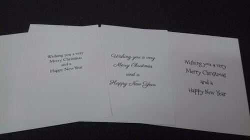 12 X pré-imprimé carte de Noël insère pour Handmade Cartes A4 pour s/'adapter Cartes A5