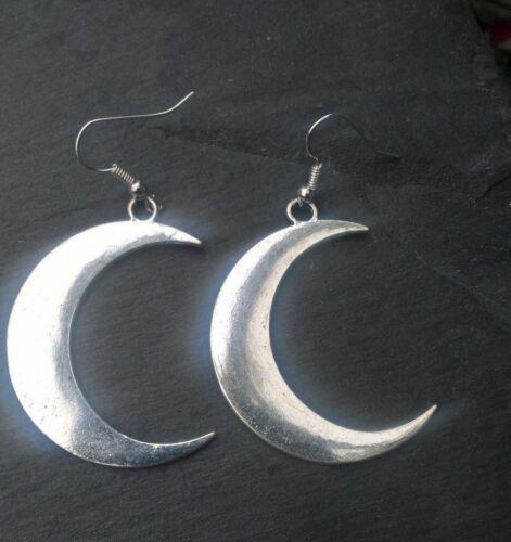 placa de plata o los cables de oreja de plata esterlina Aretes Luna bastante grandes