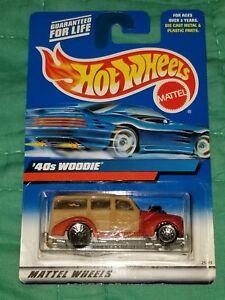 2000-Hot-Wheels-193-Mainline-Orange-039-40s-Woodie-Truck-Wired-Lace-Rims-NIP