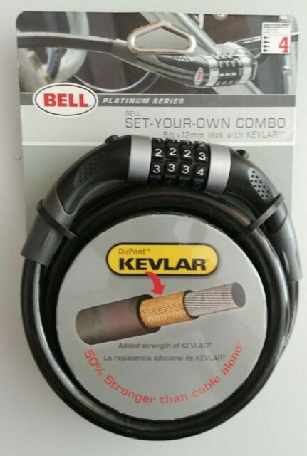 Combination Padlock with Kevlar 5ft Cable Bell Platinum Series combo bike lock