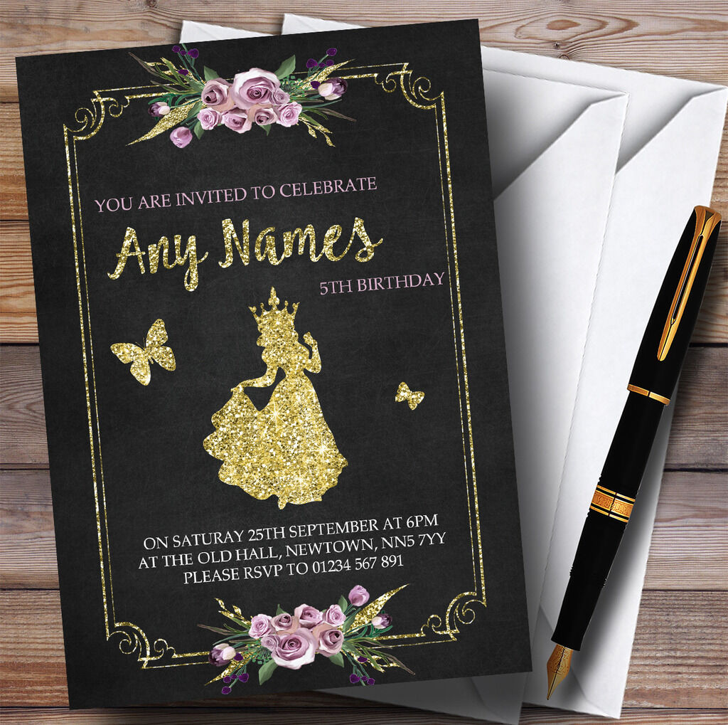 Craie Party & or Floral princesse Childrens Birthday Party Craie Invitations bec8d3
