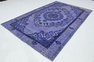 Dekorativ-Vintage-Teppich-modern-300x190-lila-edel-3D-Relief-handgeknuepft-T3079
