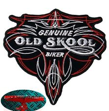 OLD SKOOL BIKER Patch Aufnäher Aufbügler Biker Motorrad Rocker Harley Pinstripe