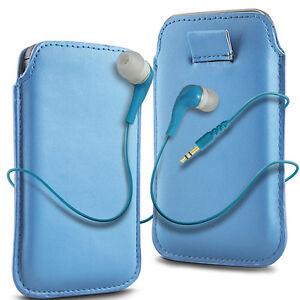 Azul-Lengueta-Cuero-De-PU-Funda-Libro-amp-Auriculares-Earbud-para-telefonos