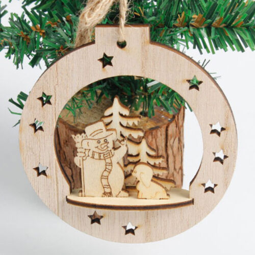 3D christmas decorations pendant wood carved Christmas pendant S6