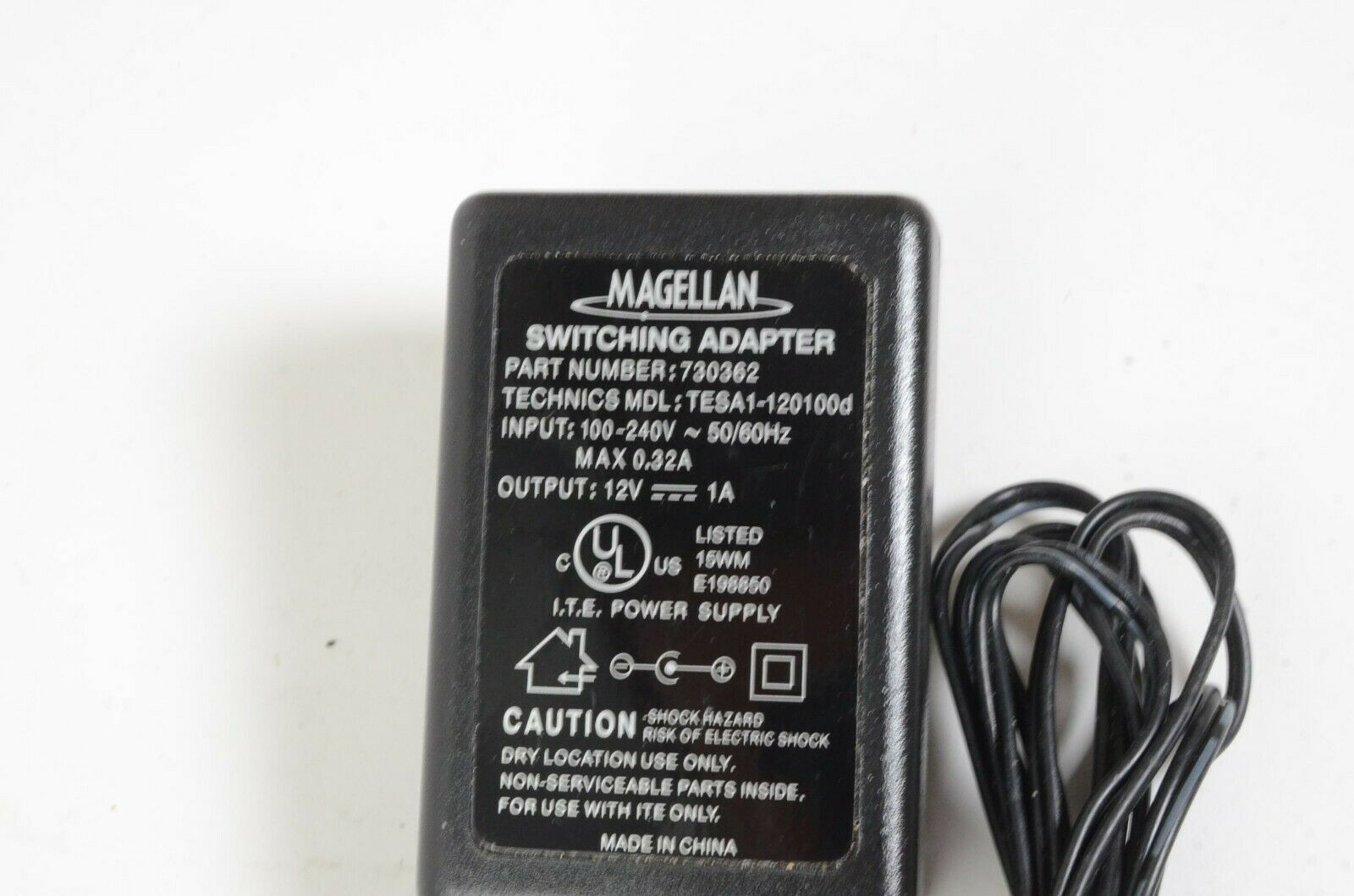 Magellan Roadmate Switching AC Adapter 730362 TESA1-120100d 12V 1A Tested Works