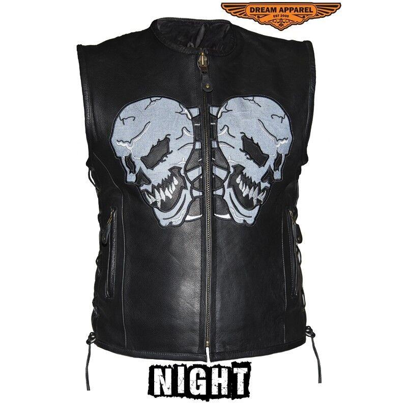 Herren Premium Cowhide Leder Vest With Reflective Skulls And Side Laces