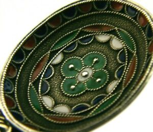 SUPERB-SOLID-SILVER-amp-ENAMEL-INDIAN-ANTIQUE-CADDY-or-OFFERING-SPOON-c1900