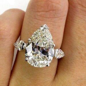 2-50ct-Pear-Moissanite-VVS1-D-3-Stone-Engagement-Ring-14k-White-Gold-Over